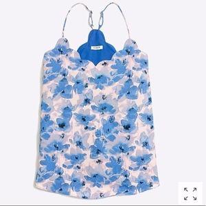 J. CREW | Blue Floral Print Scallop Neck Tank Top